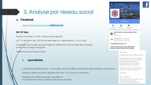 3. Analyse par réseau social a. Facebook: https://www.facebook.com/leslipfrancais/ 88. 741 fans Bonne interaction 10 330 p...