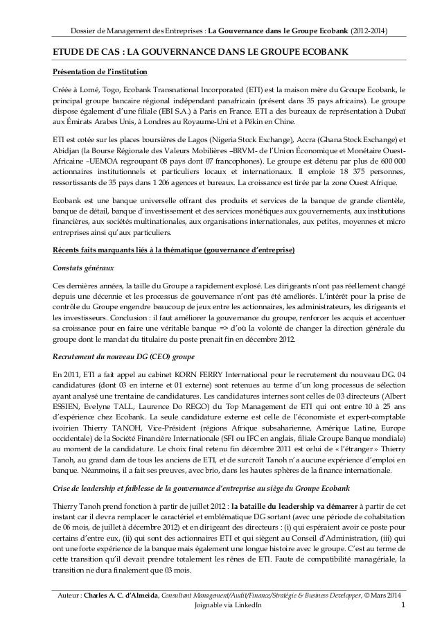 Dossier de Management des Entreprises : La Gouvernance dans le Groupe Ecobank (2012-2014) Auteur : Charles A. C. d'Almeida...