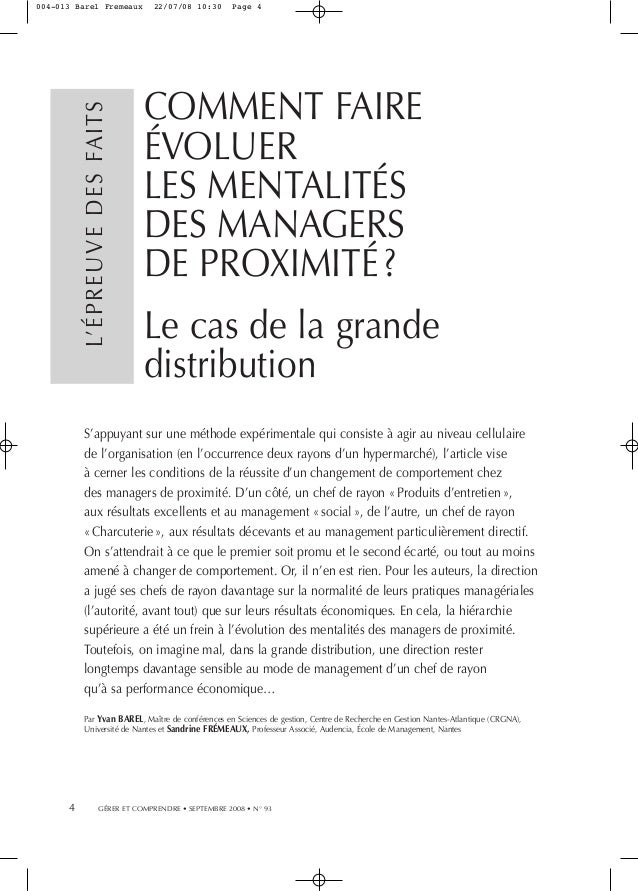 L'ÉPREUVE DES FAITS  004-013 Barel Fremeaux  22/07/08 10:30  Page 4  COMMENT FAIRE ÉVOLUER LES MENTALITÉS DES MANAGERS DE ...