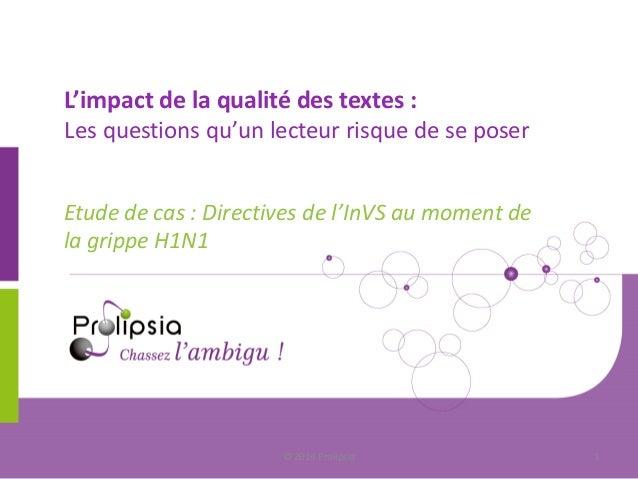 L'impact de la qualité des textes : Les questions qu'un lecteur risque de se poser  Etude de cas : Directives de l'InVS au...