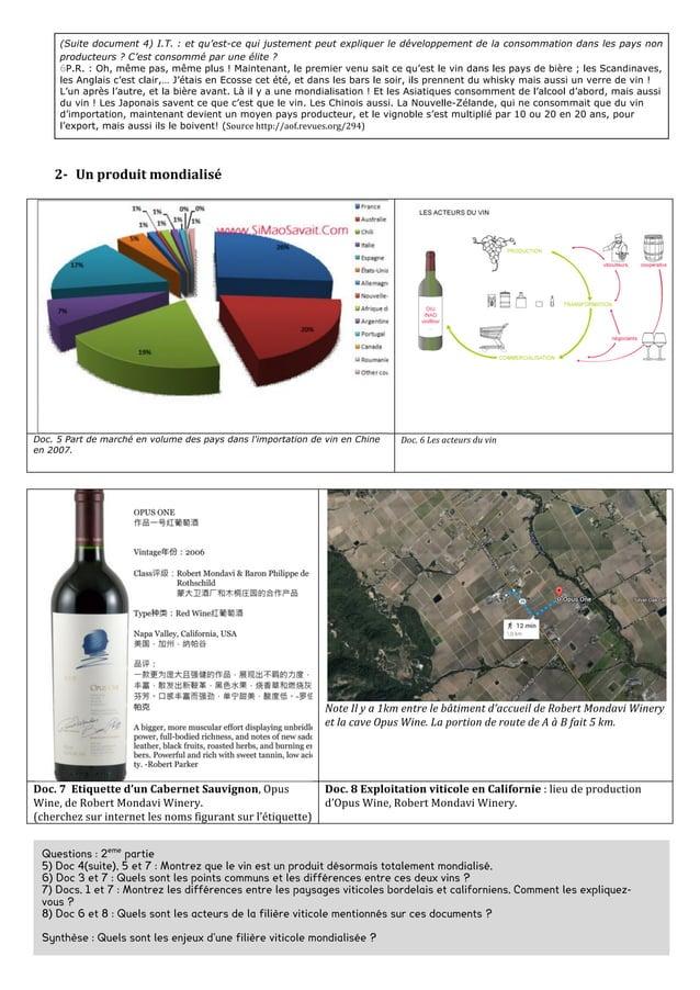 Doc. 6 Les principaux pays producteurs de vin en 2013    Doc.7 La consommation mondiale de vin en 2013 (worl...