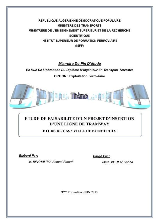 REPUBLIQUE ALGERIENNE DEMOCRATIQUE POPULAIRE  MINISTERE DES TRANSPORTS  MINISTRERE DE L'ENSEIGNEMENT SUPERIEUR ET DE LA RE...