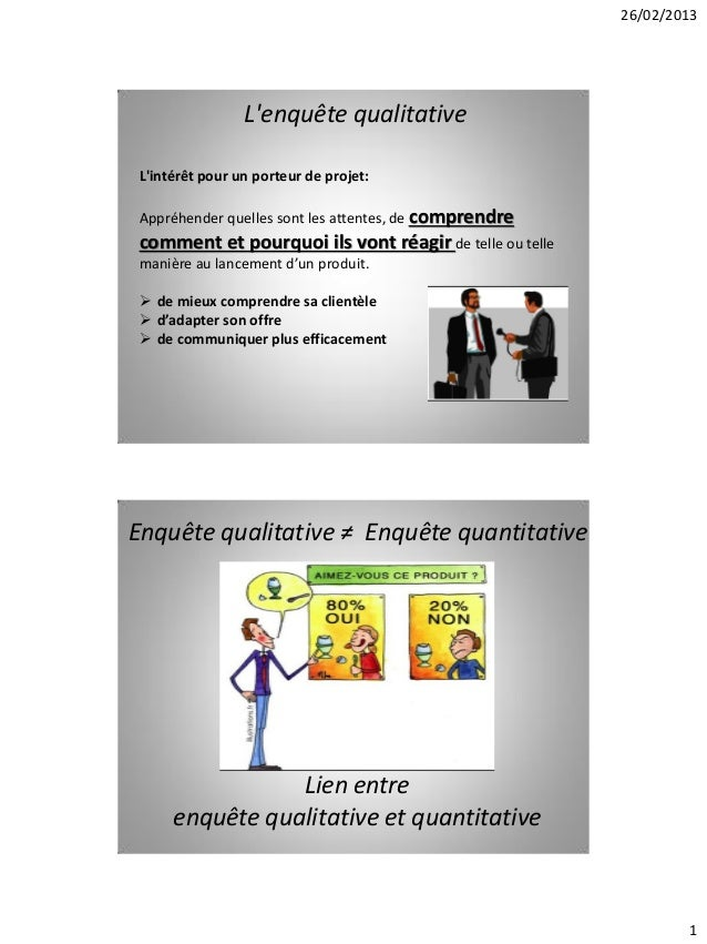 26/02/2013                 Lenquête qualitative Lintérêt pour un porteur de projet: Appréhender quelles sont les attentes,...