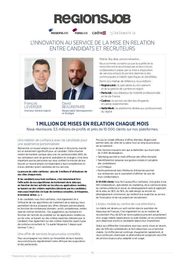 L'INNOVATION AU SERVICE DE LA MISE EN RELATION ENTRE CANDIDATS ET RECRUTEURS Une relation de confiance avec les candidats ...