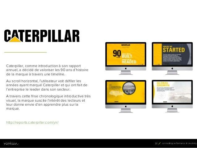 3 1 31 Caterpillar, comme introduction à son rapport annuel, a décidé de valoriser les 90 ans d'histoire de la marque à tr...