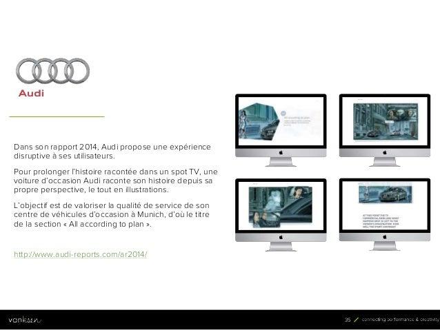 3 5 35 Dans son rapport 2014, Audi propose une expérience disruptive à ses utilisateurs. Pour prolonger l'histoire raconté...
