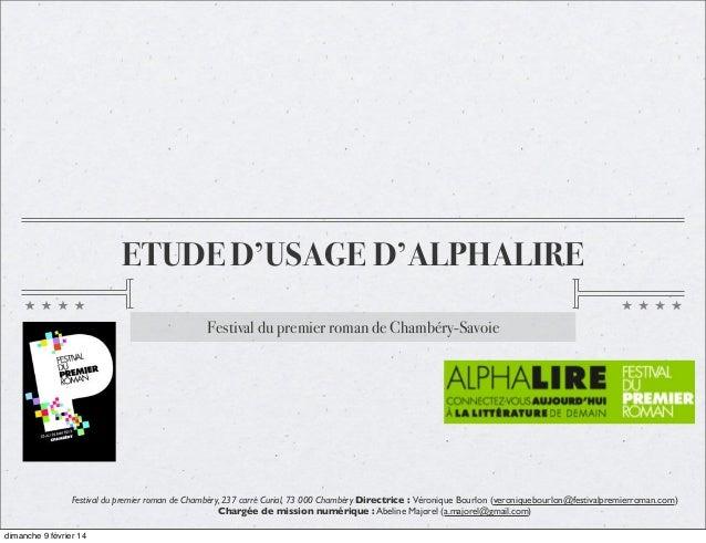ETUDE D'USAGE D'ALPHALIRE Festival du premier roman de Chambéry-Savoie  Festival du premier roman de Chambéry, 237 carré C...