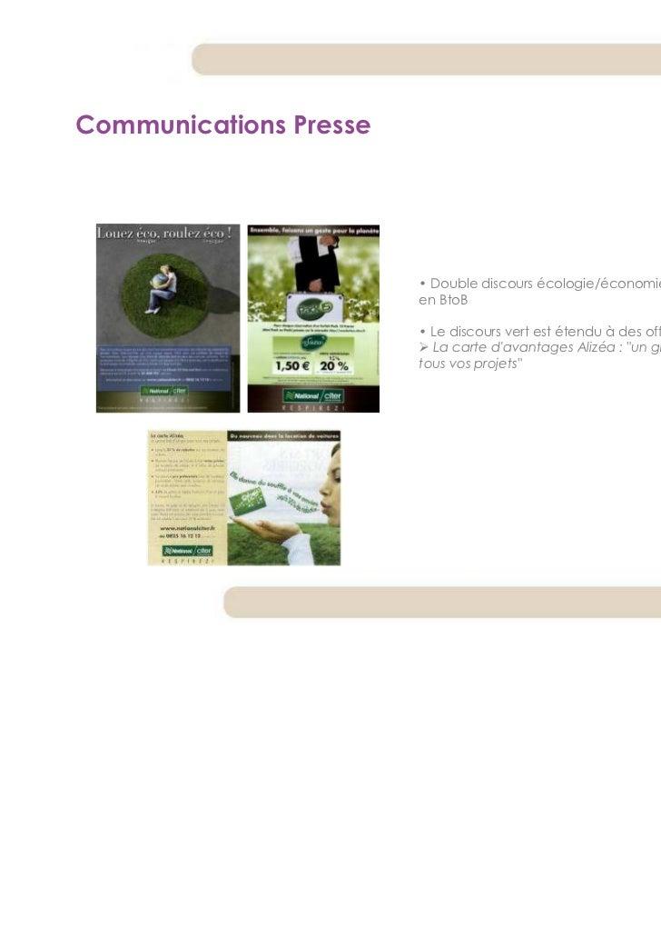 Communications Presse                        • Double discours écologie/économie, à la fois en BtoC et                    ...