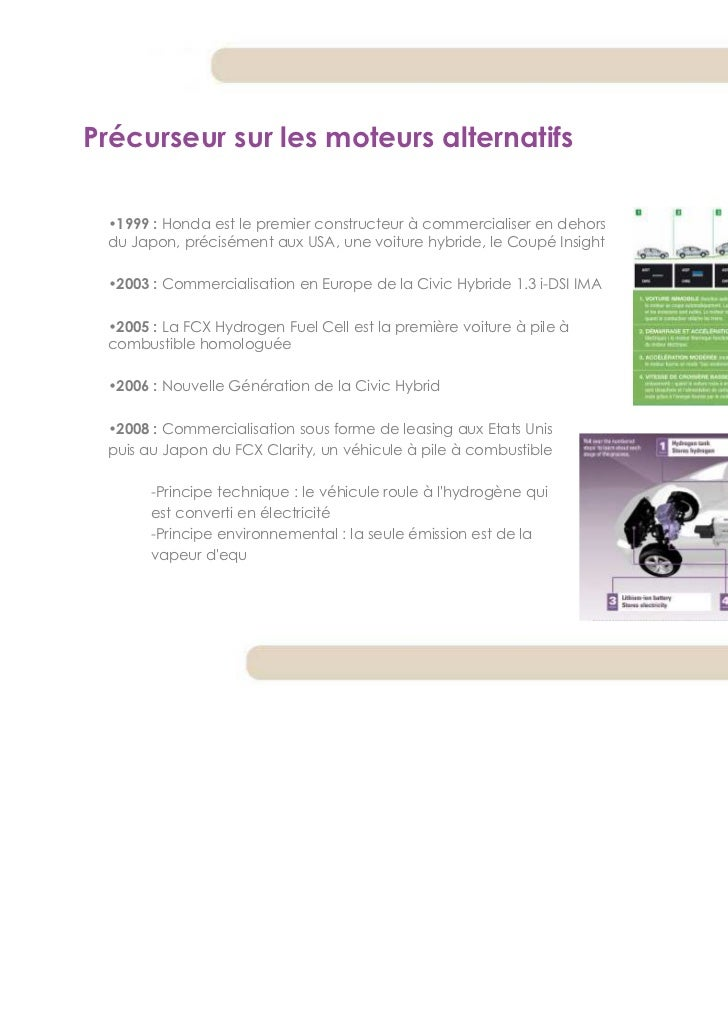 Précurseur sur les moteurs alternatifs •1999 : Honda est le premier constructeur à commercialiser en dehors du Japon, préc...