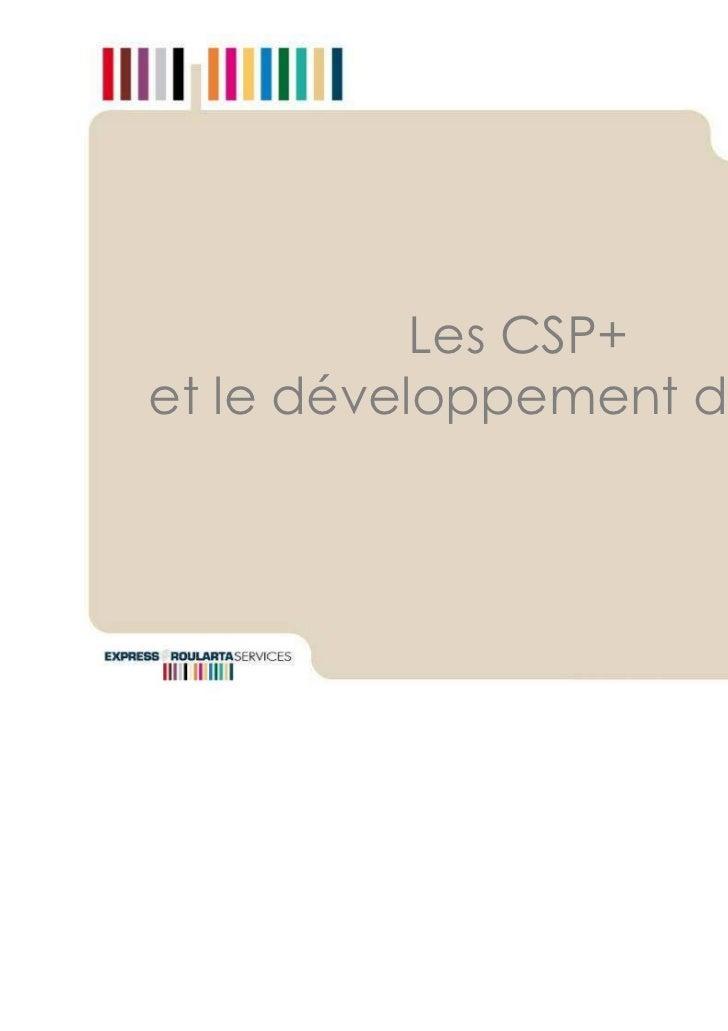 Les CSP+et le développement durable