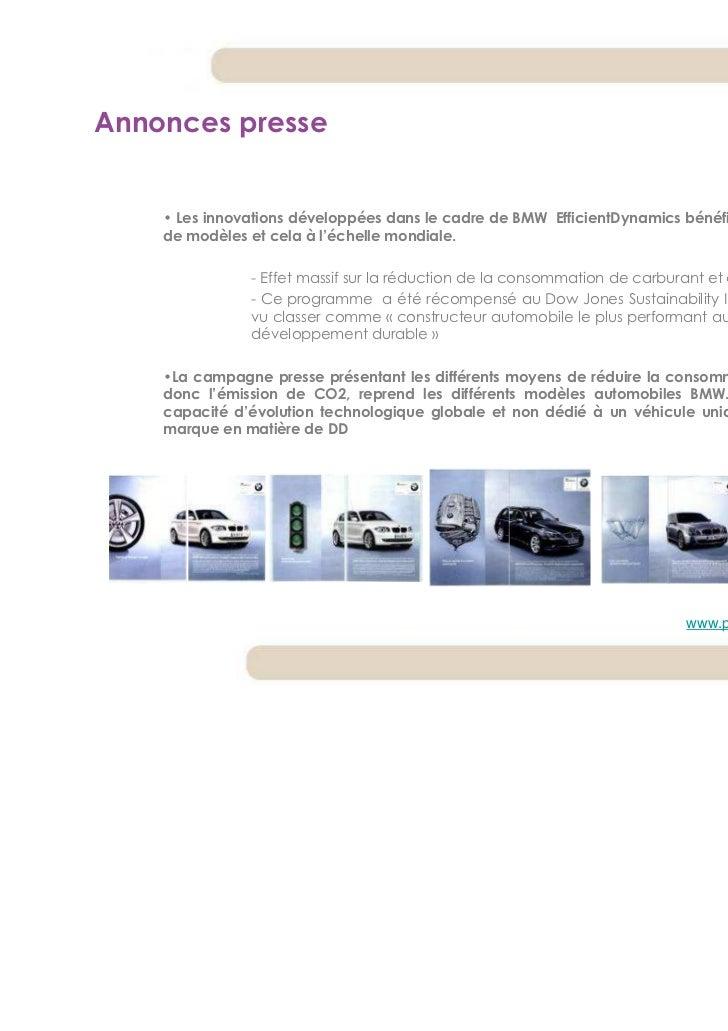 Annonces presse    • Les innovations développées dans le cadre de BMW EfficientDynamics bénéficient à toutes les séries   ...