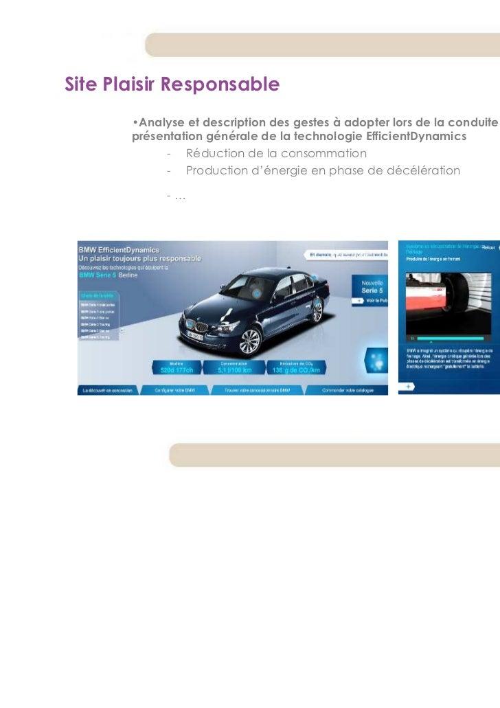 Site Plaisir Responsable       •Analyse et description des gestes à adopter lors de la conduite de la voiture et       pré...