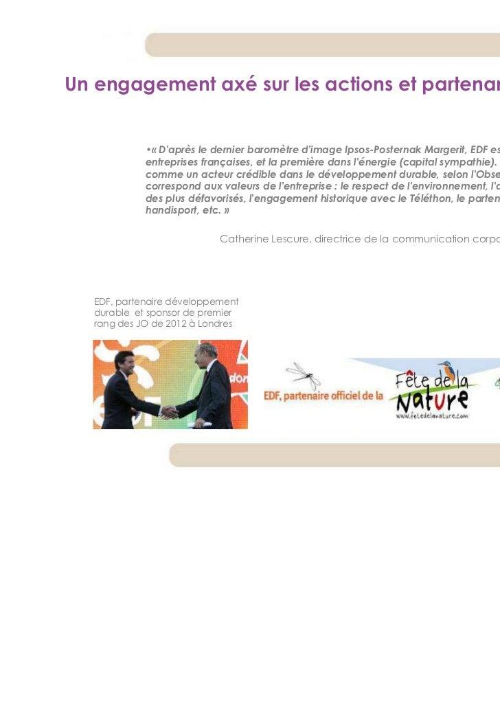 Un engagement axé sur les actions et partenariats             •« Daprès le dernier baromètre dimage Ipsos-Posternak Marger...