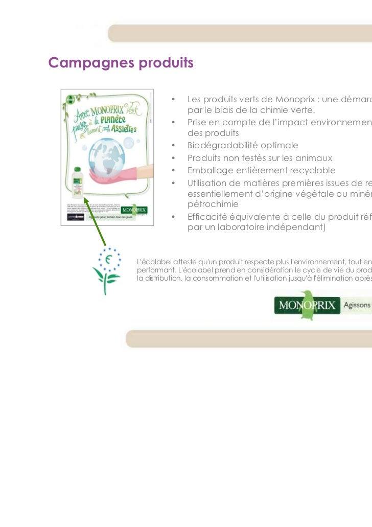 Campagnes produits                    •    Les produits verts de Monoprix : une démarche d'éco-conception                 ...