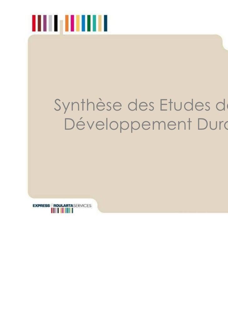 Synthèse des Etudes de cas Développement Durable