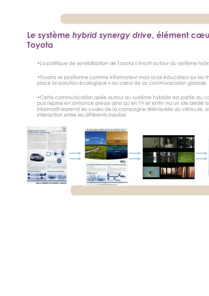 Le système hybrid synergy drive, élément cœur du discoursToyota  •La politique de sensibilisation de Toyota s'inscrit auto...