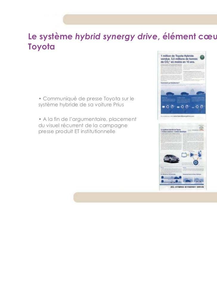 Le système hybrid synergy drive, élément cœur du discoursToyota  • Communiqué de presse Toyota sur le  système hybride de ...