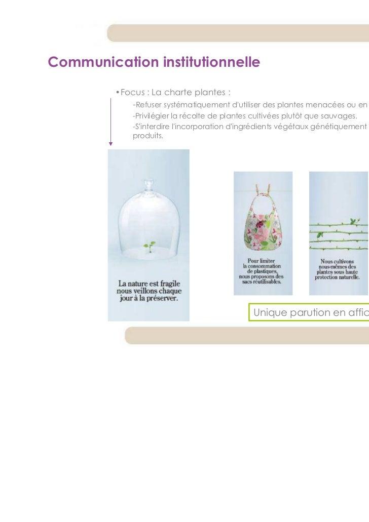 Communication institutionnelle         •Focus : La charte plantes :            -Refuser systématiquement dutiliser des pla...