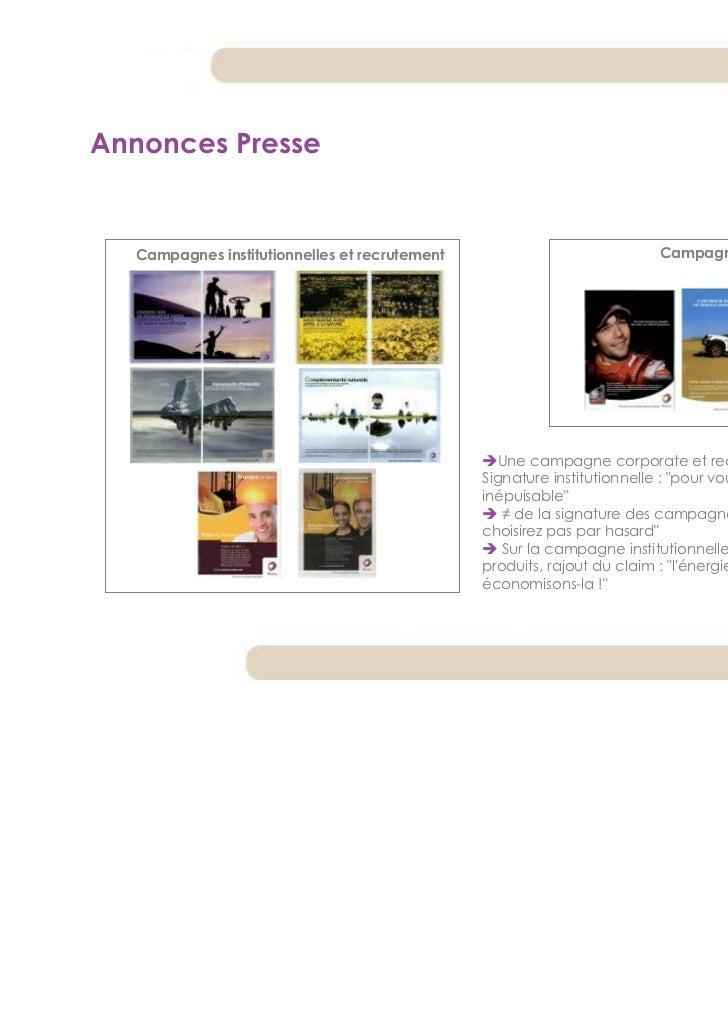 Annonces Presse  Campagnes institutionnelles et recrutement                           Campagnes produits                  ...