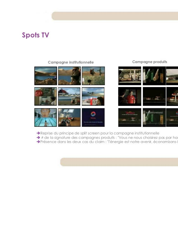 Spots TV         Campagne institutionnelle                        Campagne produits     Reprise du principe de split scree...