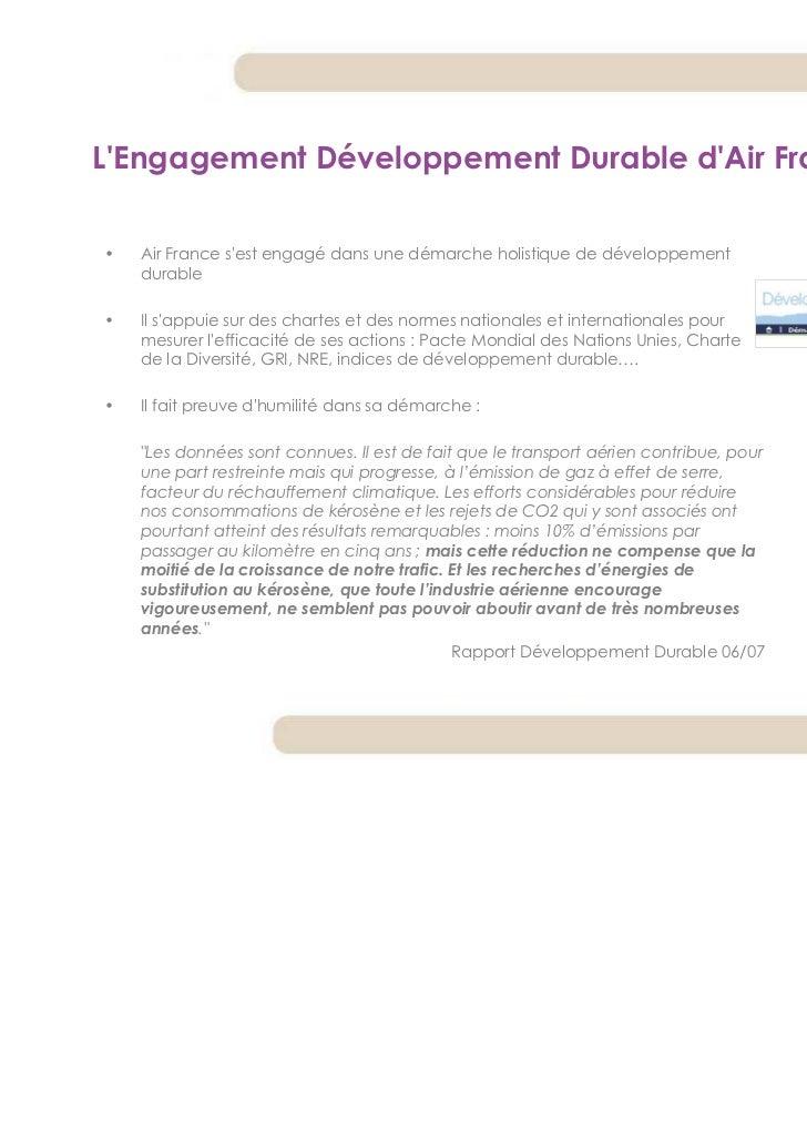 LEngagement Développement Durable dAir France•   Air France sest engagé dans une démarche holistique de développement    d...