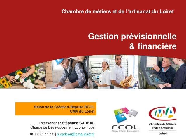Chambre de métiers et de l'artisanat du Loiret Gestion prévisionnelle & financière Intervenant : Stéphane CADEAU Chargé de...