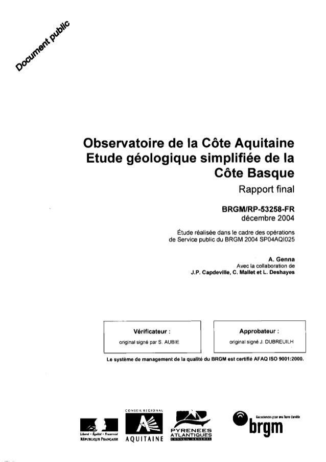 Observatoire de la Côte Aquitaine Etude géologique simplifiée de la Côte Basque Rapport final BRGMIRP-53258-FR décembre 20...