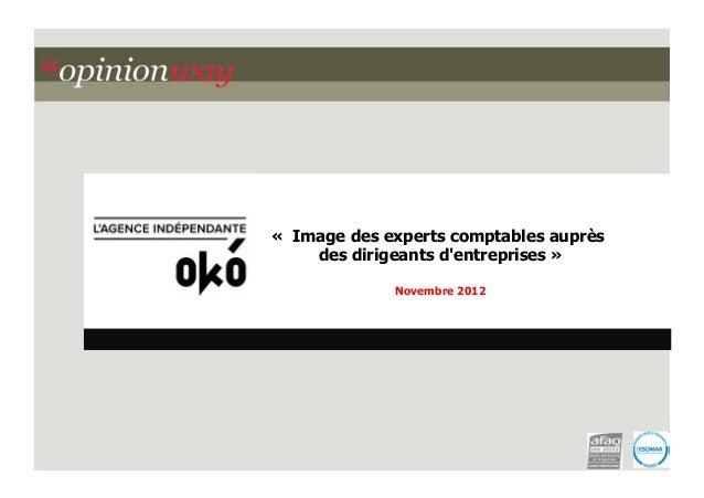 « Image des experts comptables auprès des dirigeants d'entreprises » Novembre 2012