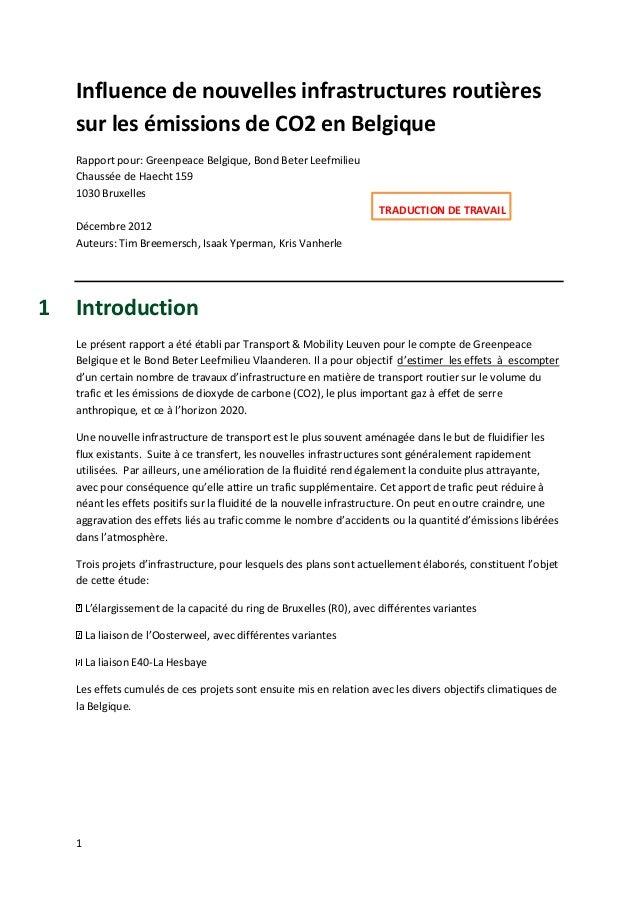 Influence de nouvelles infrastructures routières    sur les émissions de CO2 en Belgique    Rapport pour: Greenpeace Belgi...
