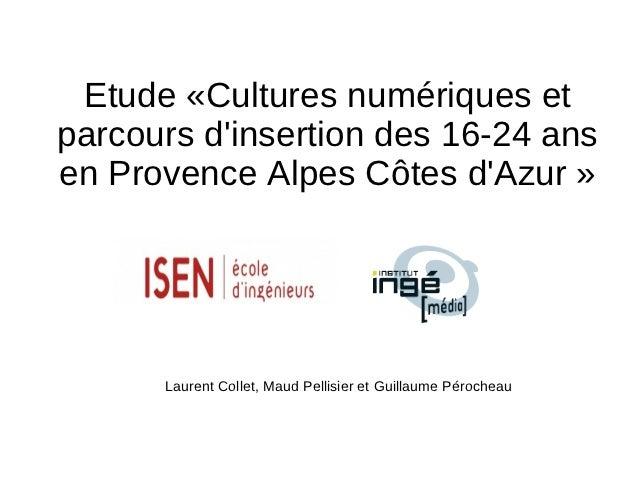 Etude «Cultures numériques etparcours dinsertion des 16-24 ansen Provence Alpes Côtes dAzur »      Laurent Collet, Maud Pe...
