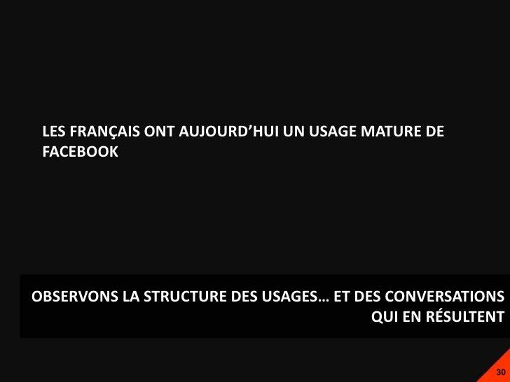 LES FRANÇAIS ONT AUJOURD'HUI UN USAGE MATURE DE FACEBOOKOBSERVONS LA STRUCTURE DES USAGES… ET DES CONVERSATIONS           ...