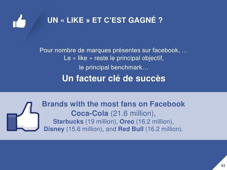 UN « LIKE » ET C'EST GAGNÉ ?Pour nombre de marques présentes sur facebook, …       Le « like » reste le principal objectif...