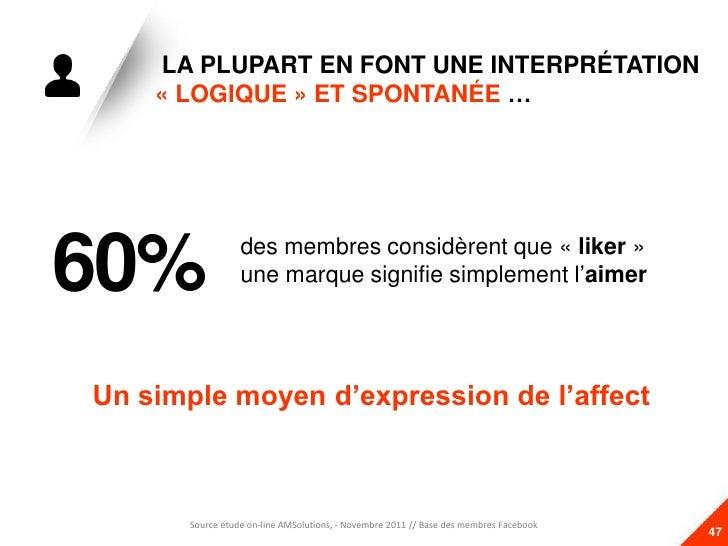 LA PLUPART EN FONT UNE INTERPRÉTATION    « LOGIQUE » ET SPONTANÉE …60%              des membres considèrent que « liker » ...
