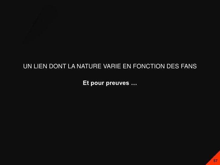 UN LIEN DONT LA NATURE VARIE EN FONCTION DES FANS                Et pour preuves …                                        ...