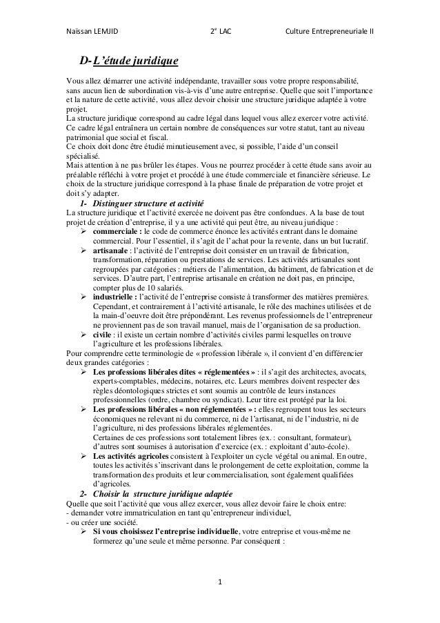 Naïssan LEMJID 2e LAC Culture Entrepreneuriale II 1 D-L'étude juridique Vous allez démarrer une activité indépendante, tra...