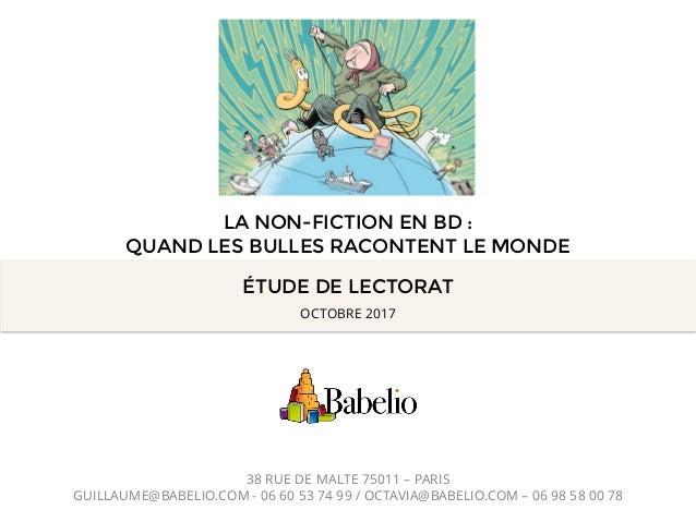 ÉTUDE DE LECTORAT 38 RUE DE MALTE 75011 – PARIS GUILLAUME@BABELIO.COM - 06 60 53 74 99 / OCTAVIA@BABELIO.COM – 06 98 58 00...