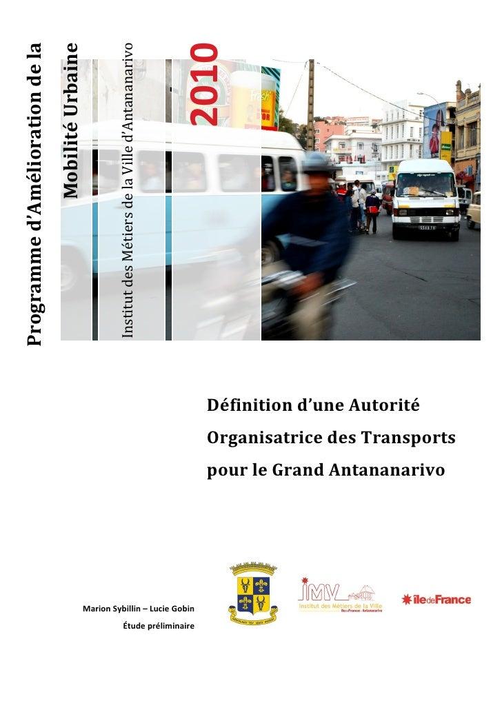 Programme d'Amélioration de la                                  Mobilité Urbaine                                          ...