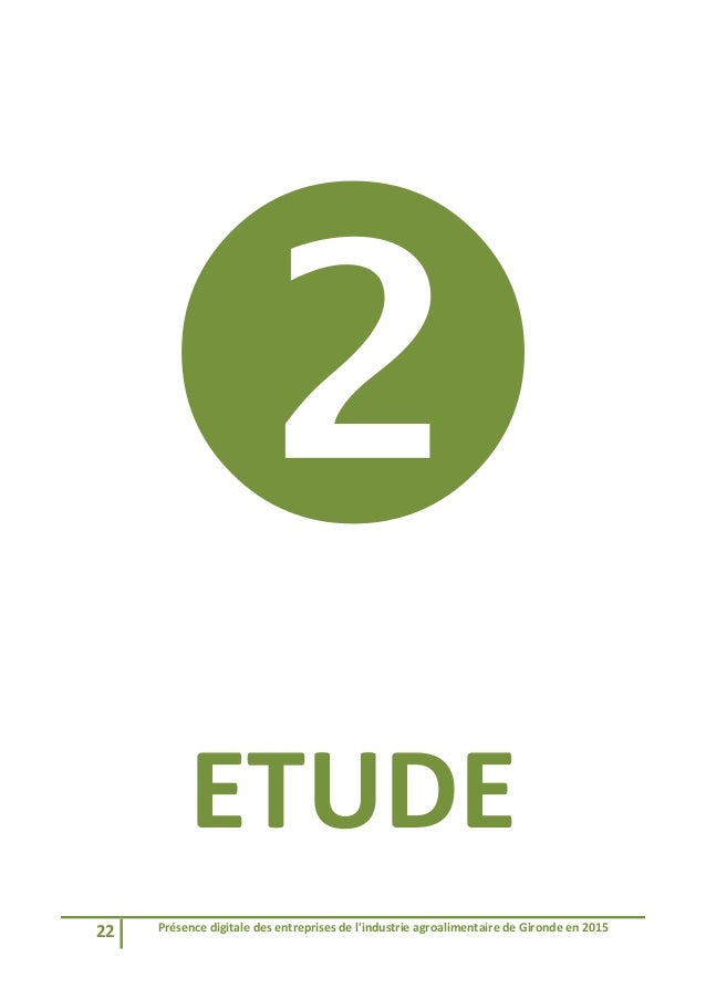 22 Présencedigitaledesentreprisesdel'industrieagroalimentairedeGirondeen2015   ETUDE