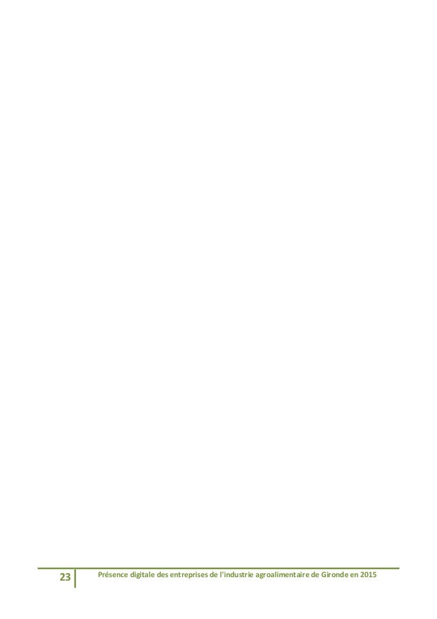 23 Présencedigitaledesentreprisesdel'industrieagroalimentairedeGirondeen2015