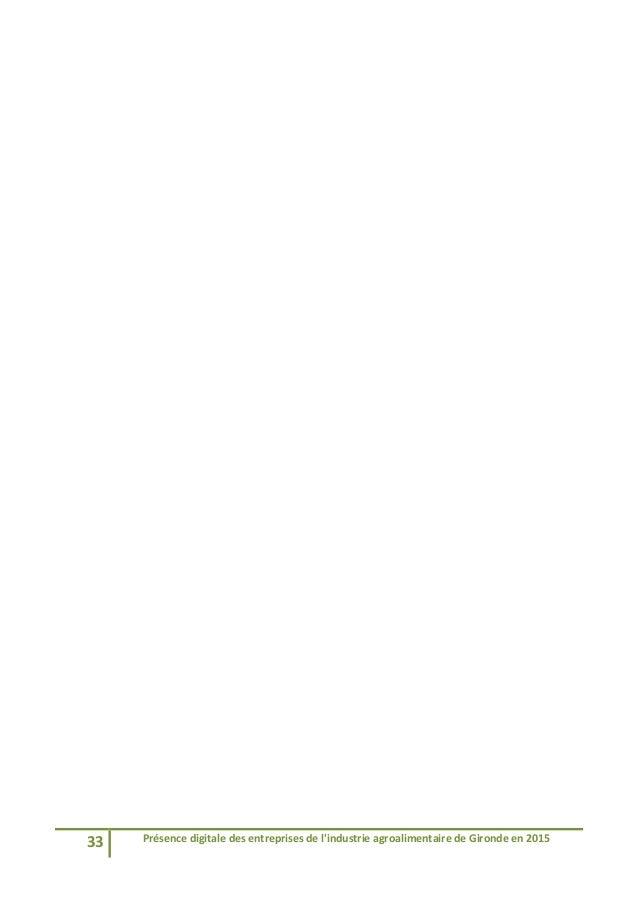 33 Présencedigitaledesentreprisesdel'industrieagroalimentairedeGirondeen2015