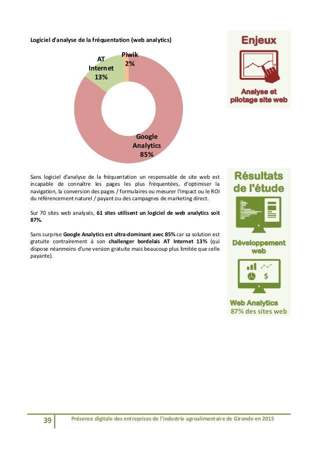 39 Présencedigitaledesentreprisesdel'industrieagroalimentairedeGirondeen2015  Logicield'analysedelafréque...