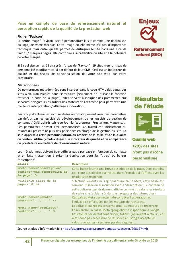 42 Présencedigitaledesentreprisesdel'industrieagroalimentairedeGirondeen2015  Prise en compte de base du...