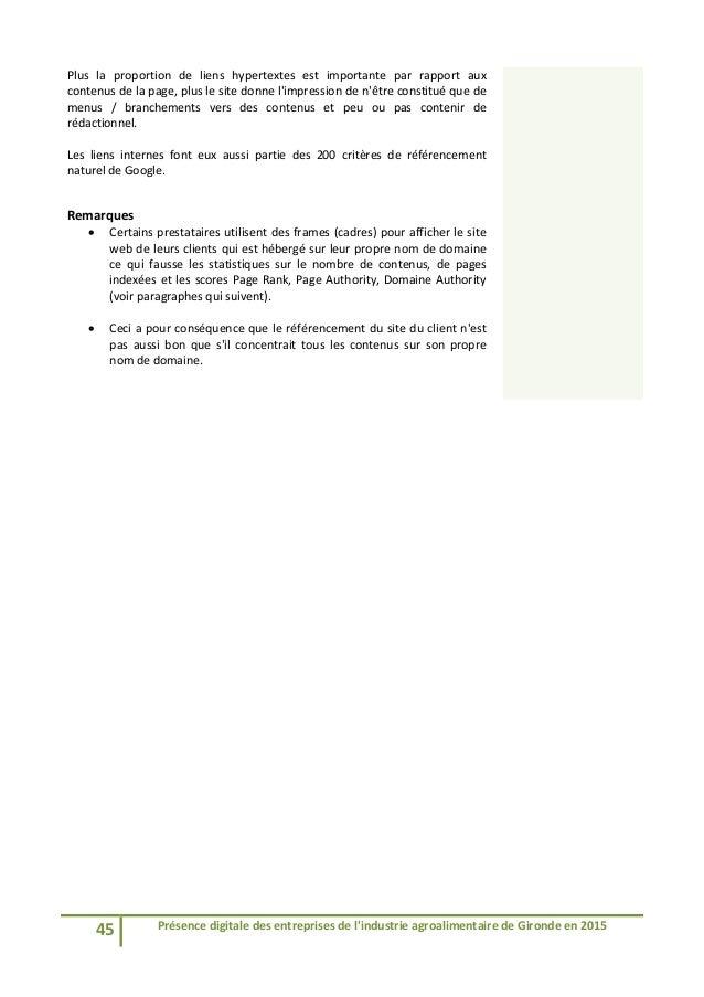 45 Présencedigitaledesentreprisesdel'industrieagroalimentairedeGirondeen2015  Plus la proportion de liens...