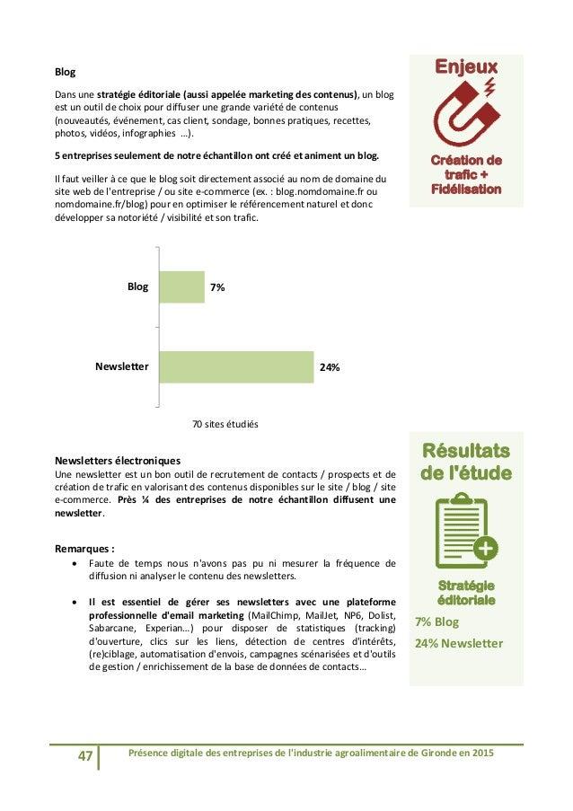 47 Présencedigitaledesentreprisesdel'industrieagroalimentairedeGirondeen2015  Blog Dansunestratégieéditor...