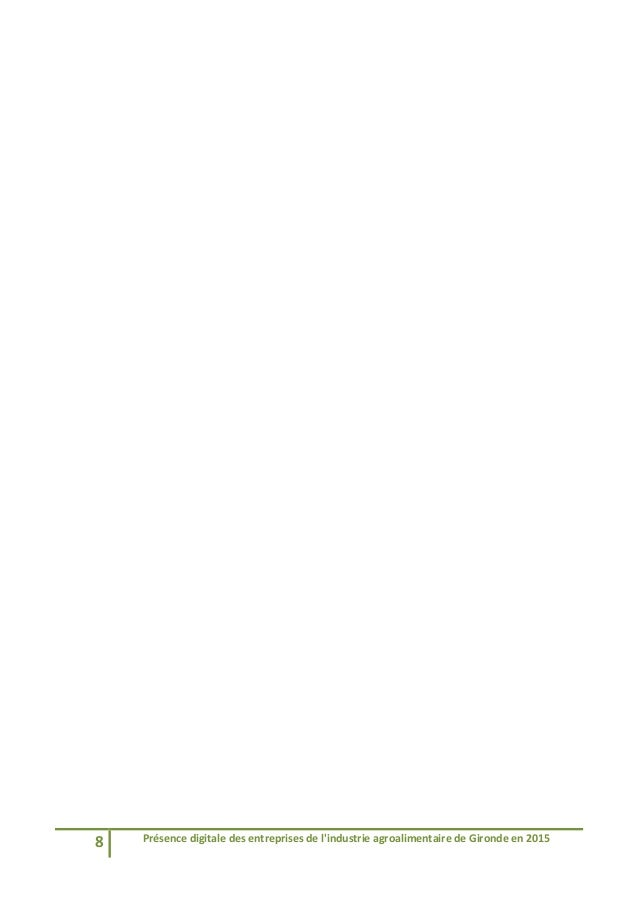 8 Présencedigitaledesentreprisesdel'industrieagroalimentairedeGirondeen2015