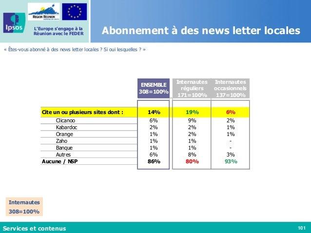 101 L'Europe s'engage à la Réunion avec le FEDER Abonnement à des news letter locales « Êtes-vous abonné à des news letter...