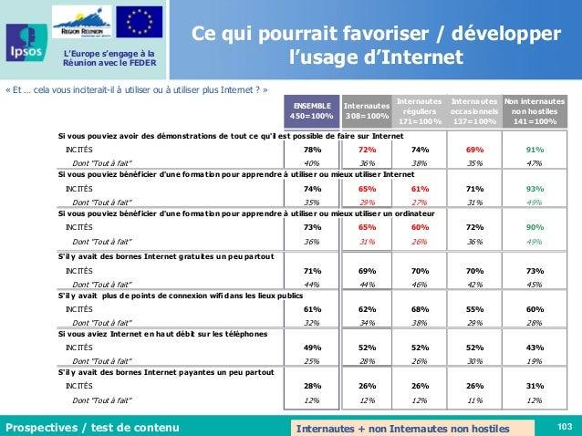 103 L'Europe s'engage à la Réunion avec le FEDER Ce qui pourrait favoriser / développer l'usage d'Internet « Et … cela vou...