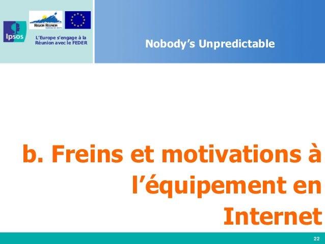 22 L'Europe s'engage à la Réunion avec le FEDER Nobody's Unpredictable b. Freins et motivations à l'équipement en Internet
