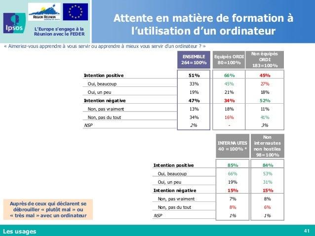 41 L'Europe s'engage à la Réunion avec le FEDER Attente en matière de formation à l'utilisation d'un ordinateur Auprès de ...