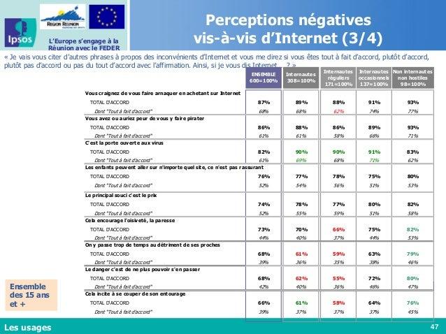 47 L'Europe s'engage à la Réunion avec le FEDER Perceptions négatives vis-à-vis d'Internet (3/4) « Je vais vous citer d'au...